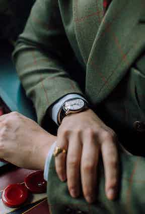 """Tom wears a Girard-Perregaux 1966 in white gold with Grand Feu enamel dial. """"I think it's one of the best-looking dress watches ever made. It's a real statesman's watch; stunning, simple, elegant."""""""