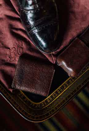 """""""These are sort of museum pieces,"""" The Rake's Editor says of his collection of Russian Reindeer Hide leather goods, crafted by George Cleverley. """"There is a sense that these are very special because the shoes were one of the first pairs made in this hide. The natural hatch effect is very unusual and interesting – the imperfections make it perfect."""""""