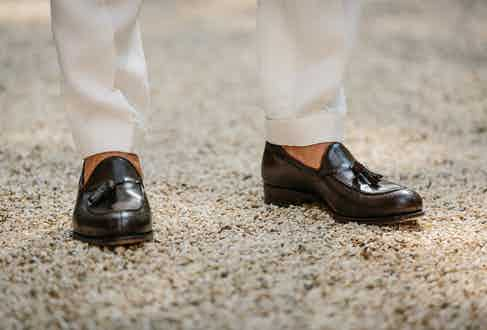 Alexander Kraft wears Carmina brown tassel loafers. Photograph by Jamie Ferguson.