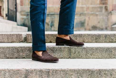 Andreas Weinas wears brown made-to-order loafers by Carmina. Photograph by Jamie Ferguson.