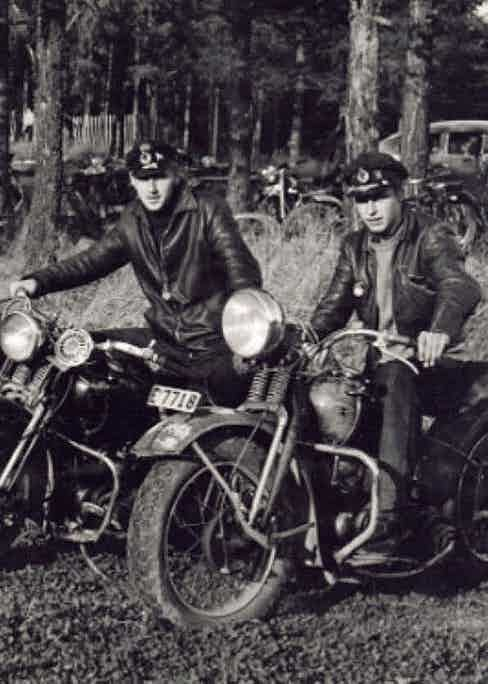 Leather motorcycle jackets were in popular demand for soldiers riding motorcycles during the Second World War, circa 1944.