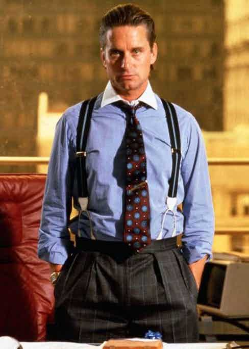 Michael Douglas as Gordon Gekko in Wall Street, 1987.