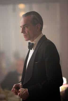 In more formal attire, Woodcock's black tie is bespoke by Anderson & Sheppard in a 19oz barathea. The wide lapels are the house's signature.