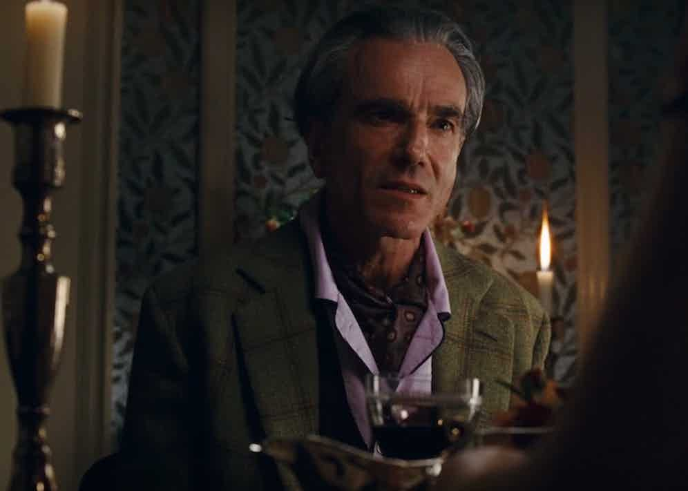 In one of the most crushing scenes, Woodcock makes a point by wearing a pair of Budd Shirtmakers' lavender pyjamas with contrast piping, a foulard and a sports jacket in green tweed.