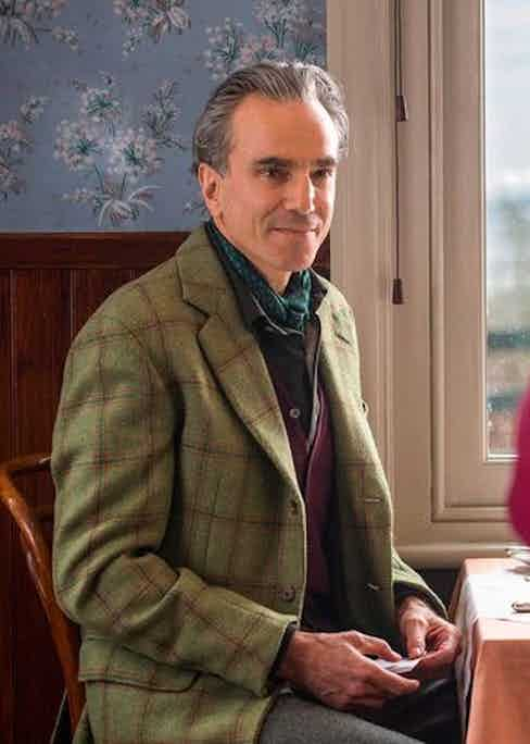 Woodcock wears a tweed sports coat with red and blue overcheck in the country when he first meets waitress Alma.