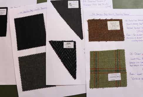 Swatches from the seven looks created by Anderson & Sheppard.