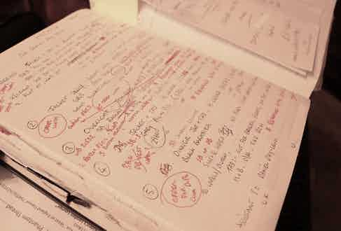 Martin Crawford's original notes from Mark and Daniel's first meeting at Anderson & Sheppard.