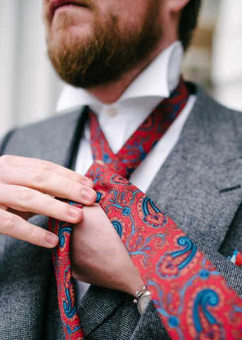 Augustus Hare crafts all its silk ties in England using vibrant patterns and colours to stand out.