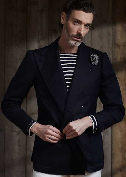 Richard Beidul wears an Armor Lux Breton shirt with Sciamat's navy double-breasted blazer. Photograph by Olivier Barjolle, styling by Jo Grzeszczuk.