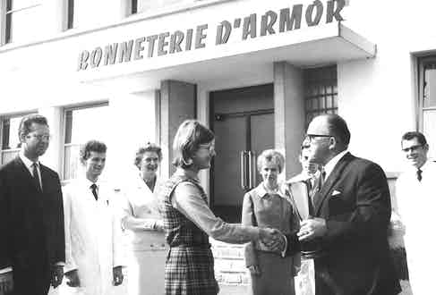 Founder Walter Hubacher outside the Bonneterie d'Armor which was founded in Quimper, France in 1938.