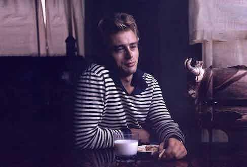 James Dean wearing a Breton shirt.