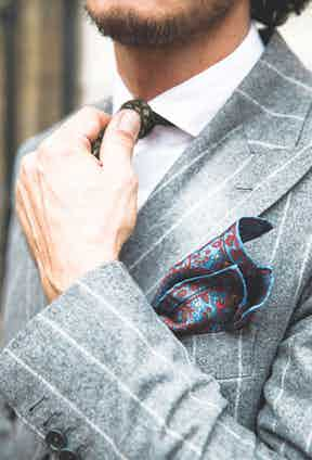 """Sebastiano's suit here is made by Vitale Barberis Canonico. """"I'm passionate about pinstripe fabric, because I love suit styling from the 1920s and thirties,"""" he says. Rubinacci, meanwhile, is behind the tie and pocket-square."""