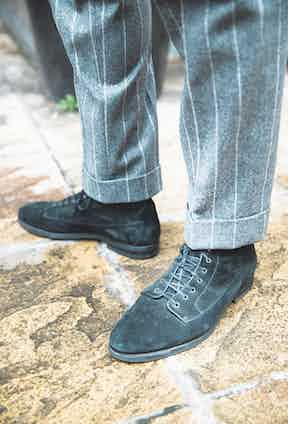"""Barbanera's black Kerouac boots. """"I think black suede is very chic when it comes to boots,"""" says Sebastiano."""