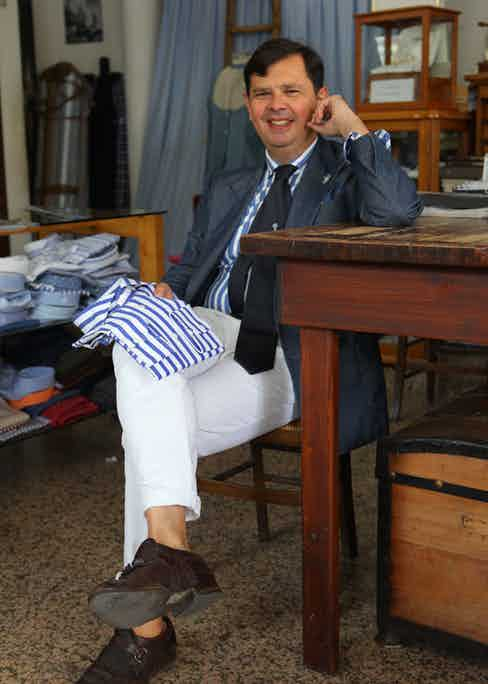 Angelo Inglese taking a break in the G. Inglese workshop in Ginose, Italy.