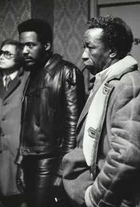 Sporting a shearling jacket and smoking his trusty pipe, Parks directs Richard Roundtree on the set of Shaft, 1971.