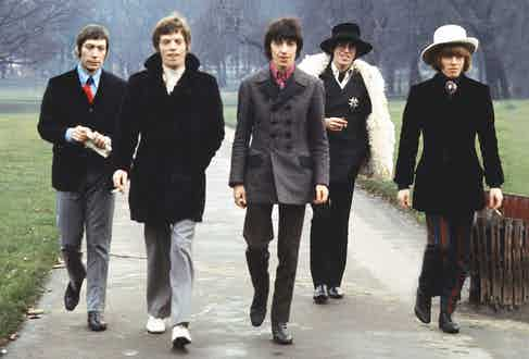 The Rolling Stones demonstrate their eccentric sartorial prowess in Hyde Park, London, 1967. Photograph by Bill Orchard/REX/Shutterstock.