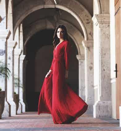 Red silk chiffon dress, Dior.