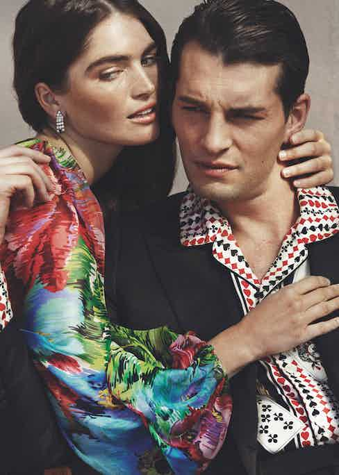 His: Double-breasted jacket and silk pyjama shirt, both Dolce & Gabbana. Hers: Silk chiffon jumpsuit, Dolce & Gabbana.