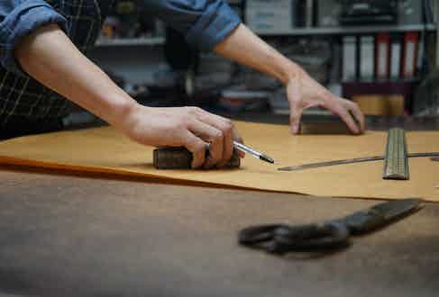 All of Craftsman Clothing's patterns are drawn and cut entirely by hand by seasoned craftspeople in Hong Kong.