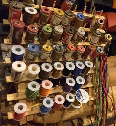 A range of threads used to sew the jackets together.