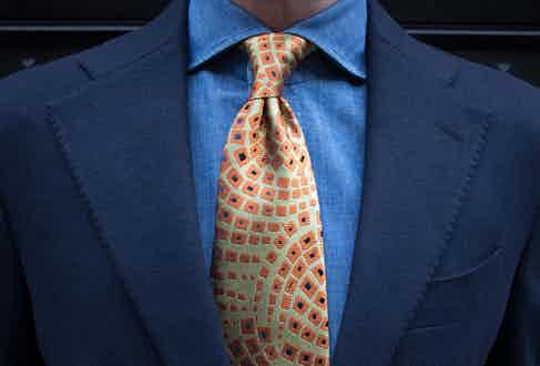 One of Charvet's exclusive neckties crafted from the house's archival fabric as part of a collaboration with The Rake.