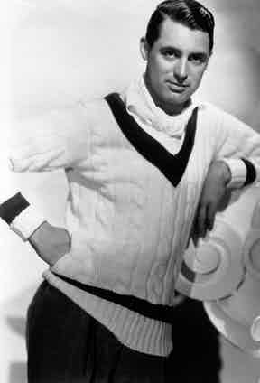 Cary Grant wears a classic cricket sweater, 1934. Photograph by John Kobal Foundation/Getty Images.