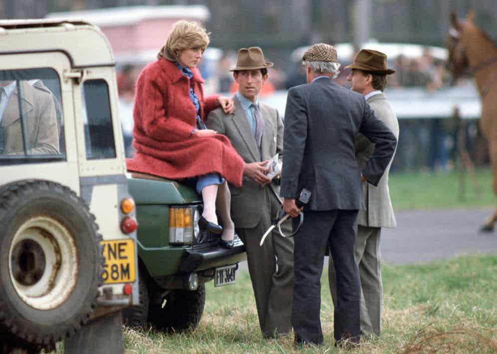 Prince Charles and Princess Diana attend the National Hunt Festival at Cheltenham, 1982.