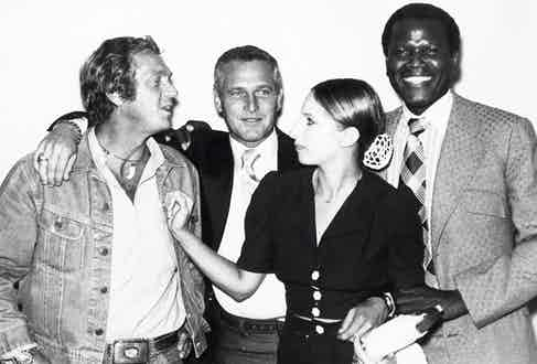 Sidney Poitier with Steve McQueen, Paul Newman and Barbra Streisand in 1972.