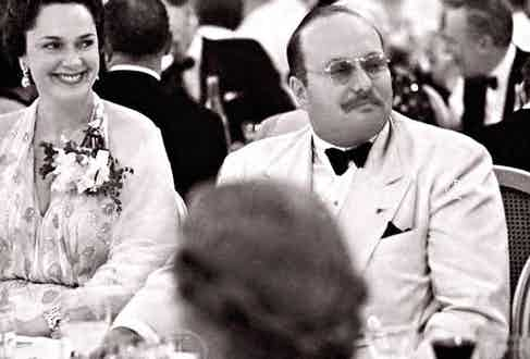 Dining with HH Begum Yvette Aga Khan, 1950.