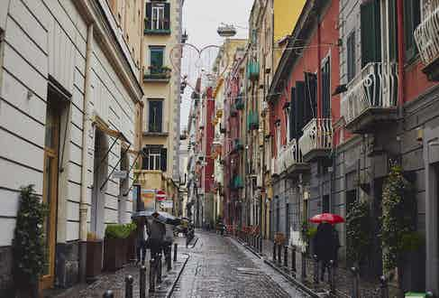 As is customary with Naples, the streets are colourful and vibrant. You can find Salva's store on Via Carlo Poerio.