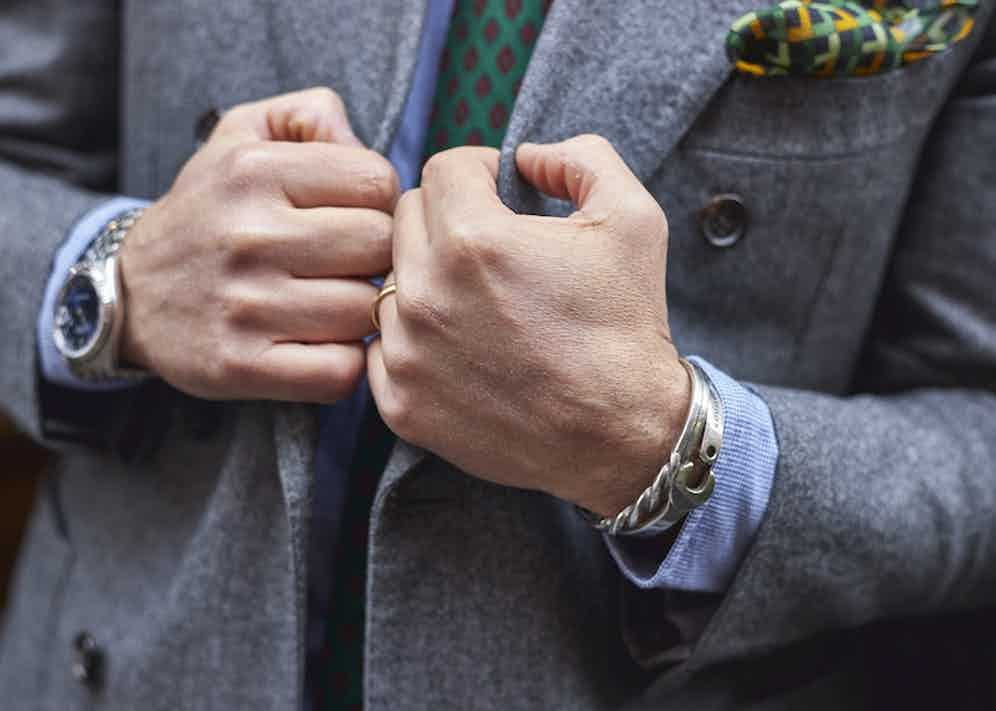 With a Rolex on his right and silver jewellery on his left, Salva embraces understated elegance.