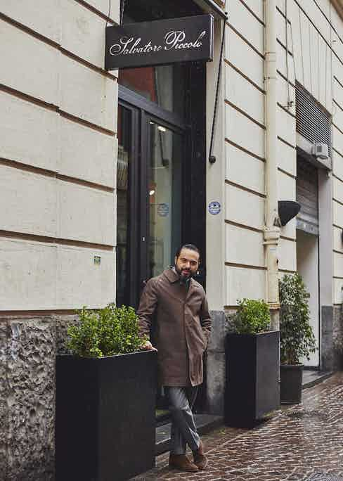 Salva outside his shop on Via Carlo Poerio, Naples.