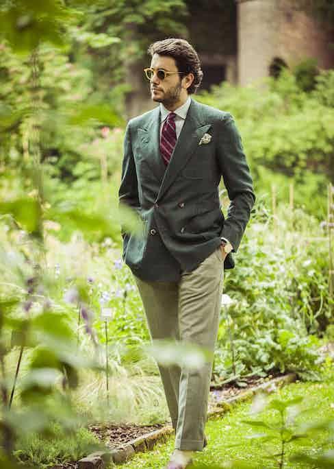 Fabio Attanasio, founder of The Bespoke Dudes, wears a burgundy Francesco Marino tie contrasted against a green, double-breasted hopsack blazer. Photograph by Eduardo Moruzzi.