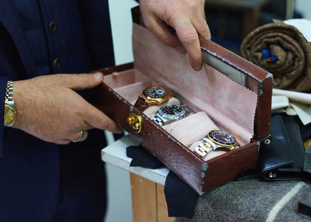 """Hidden away in the workshop is Salva's watch roll, however, he has many more at home. From left to right: Patek Philippe Nautilus in rose gold; Rolex Explorer II in steel and Rolex Submariner in steel and yellow gold, which is his """"sporty watch""""."""
