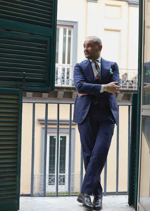 Whilst the trousers are, naturally, Ambrosi, the jacket and waistcoat have been cut by Orazio Luciano. Salva was in Shanghai for a trunk show with the tailoring house, and liked the look of Pino Luciano's suit so much that he requested that he make one for him too.