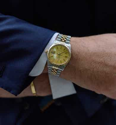 """Salva wears his two-tone Rolex Datejust on a Jubilee bracelet. The dial is brushed gold and appears """"like linen""""."""