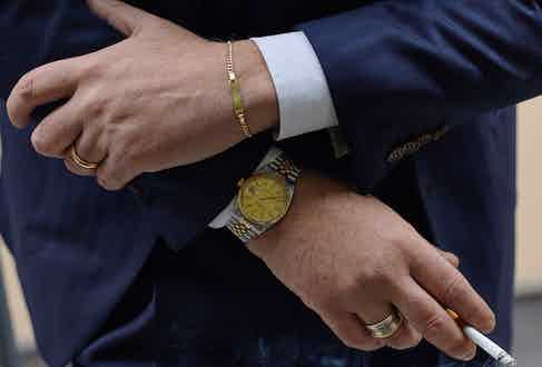 In addition to his watch, Salva wears a Cartier bracelet with his initials engraved, a two-tone ring from Parisian jeweller Boucheron and his wedding ring.