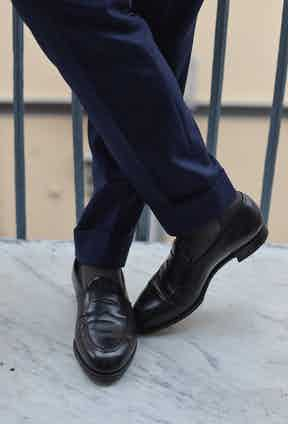 Salva buys his ready-to-wear shoes from Edward Green, and orders his made-to-measure or made-to-order pairs from Saint Crispins. He tells me that he has good feet, so he doesn't need bespoke shoes.