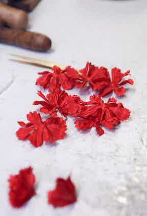 A selection of silk petals, ready to be hand-sewn together.