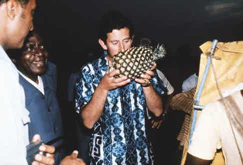 Prince Charles gives the Hawaiian shirt a royal blessing while on a tour of West Africa, 1977. Photograph by Steve Wood/REX/Shutterstock.