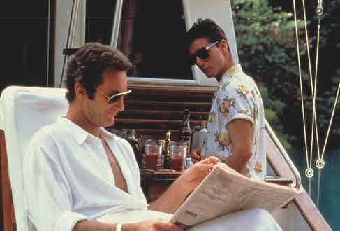 Tom Cruise plays the mischievous bar tender sporting various short-sleeve, billowy Hawaiian shirts in Cocktail, 1988. Photograph by Moviestore/REX/Shutterstock.