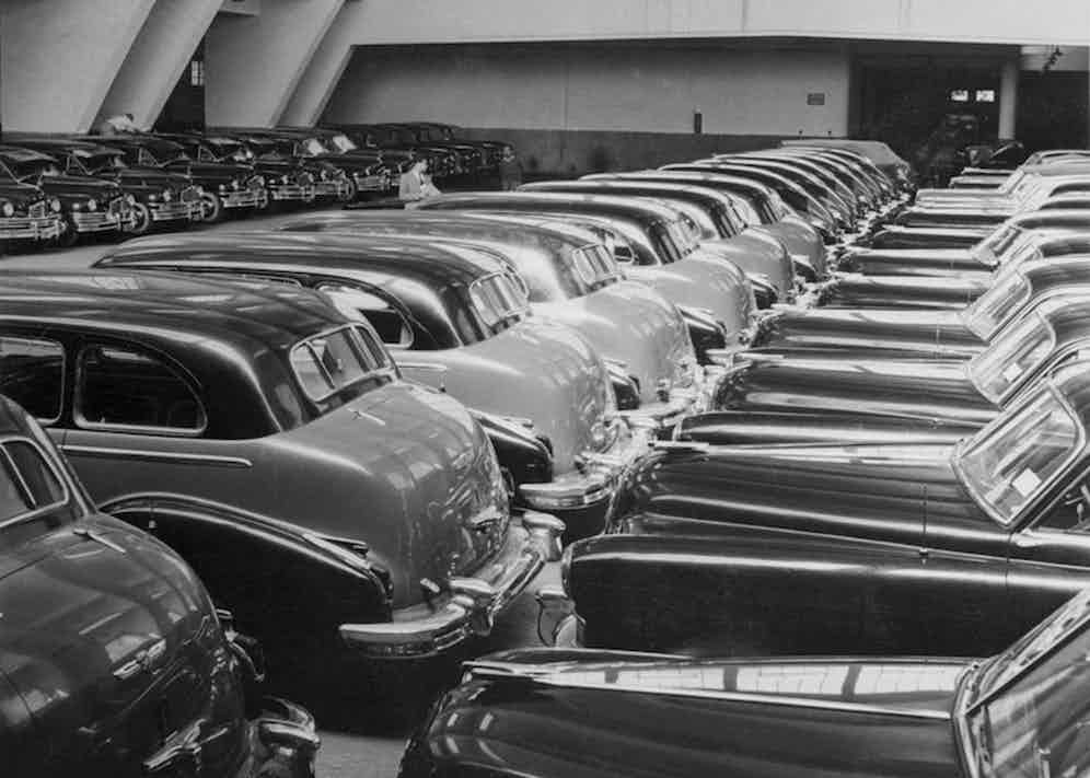 King Farouk's fleet of Cadillacs and Packards, 1960.