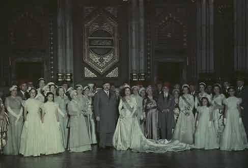 Pictured at his second wedding to Narriman Sadek, 1951.