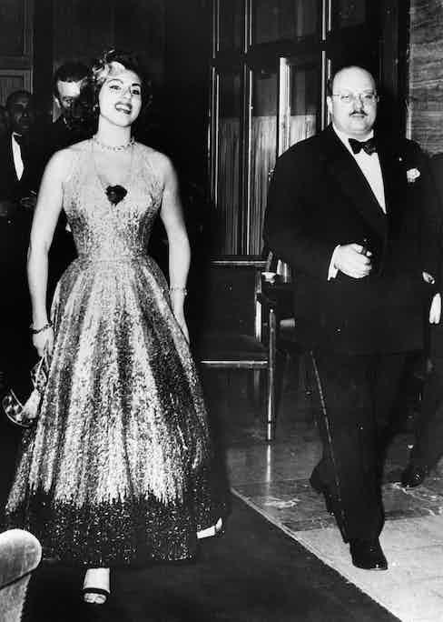 King Farouk with the Italian opera singer, Irma Capece Minutolo, 1954.