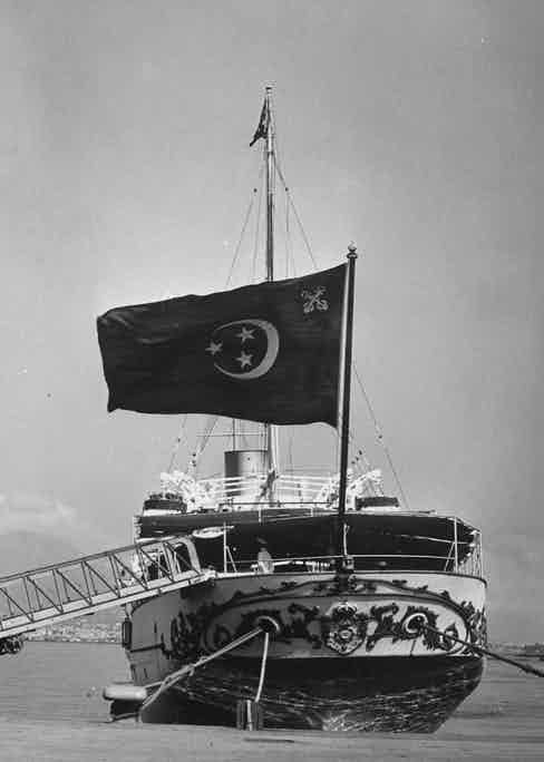 Farouk's ship, the Mahrousa, which carried him and his family to Naples, 1952.