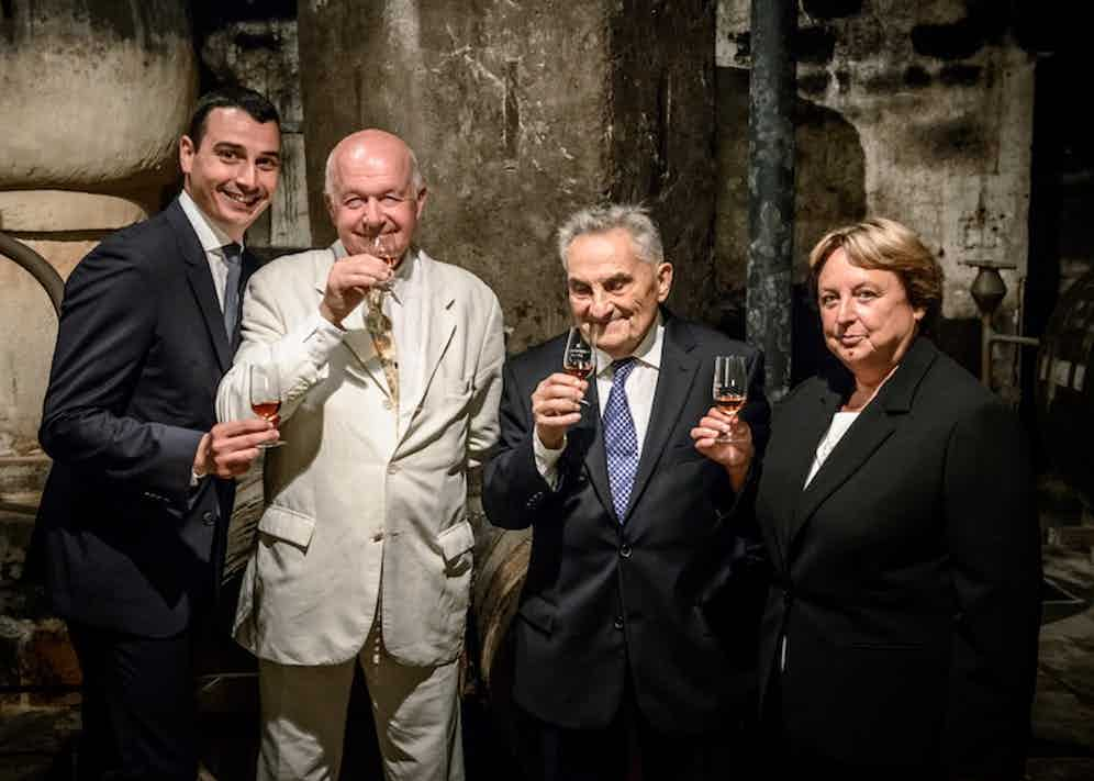 From left to right: Louis XIII's past and current Cellar Masters, André Giraud, Georges Clot, Pierrette Trichet and Baptiste Loiseau.