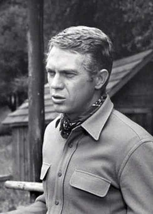 In his breakthrough role in Wanted Dead or Alive, McQueen wears a hard-wearing overshirt as he tracks down criminals.