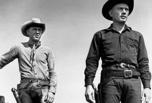 McQueen in classic wester, The Magnificent Seven, 1960, with Yul Brynner.