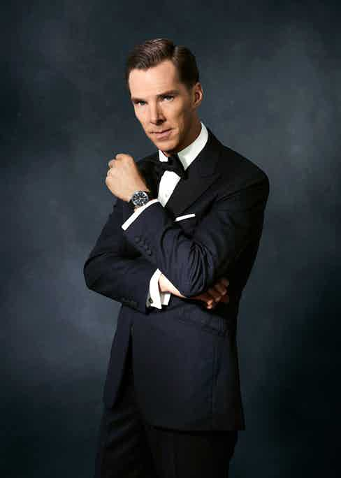 Midnight blue wool, two-piece evening suit with corded silk facing lapels, bespoke Alfred Dunhill; white cotton shirt, Emma Willis; black silk bow tie, yellow gold with mother of pearl cufflinks and dress studs and white cotton pocket handkerchief, all Labassa Woolfe. Jaeger-LeCoultre Polaris Memovox in Steel, with rubber strap.