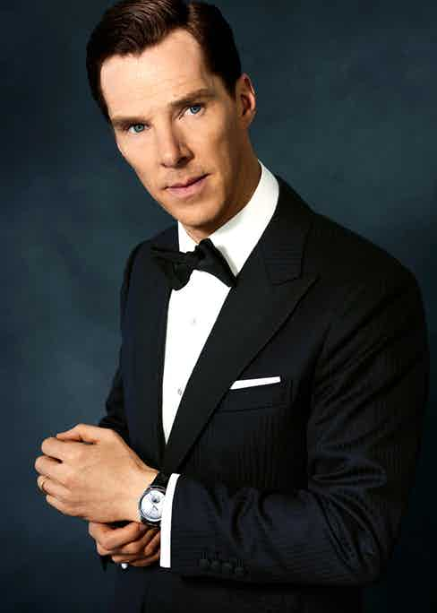 Midnight blue wool, two-piece evening suit with corded silk facing lapels, bespoke Alfred Dunhill; white cotton shirt, Emma Willis; black silk bow tie, yellow gold with mother of pearl cuff links and dress studs and white cotton pocket handkerchief, all Labassa Woolfe. Jaeger-LeCoultre Master Ultra Thin Moon timepiece in white gold, with grey dial and black leather strap.